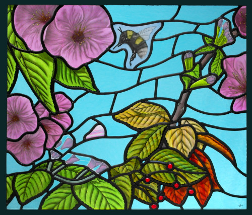 Blossom and the Bee - Fused and painted stained glass