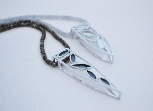 Leaf Frame Necklaces, silver and semi-precious beads