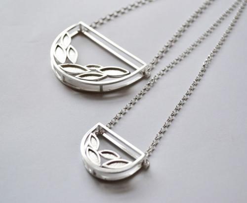 Leaf Frame Necklaces, silver