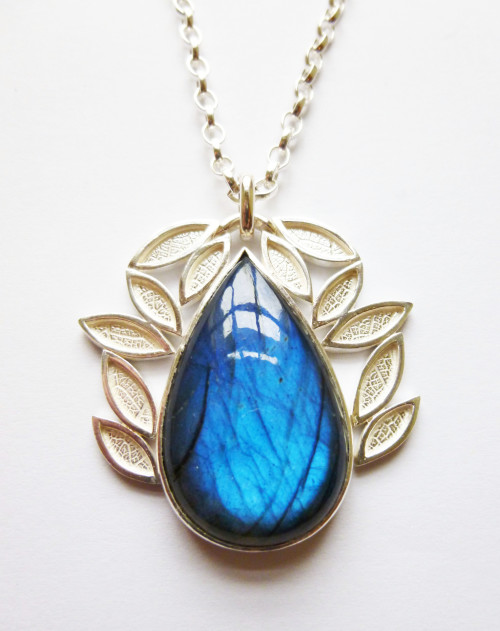 Leaf Cluster Necklace, silver and labradorite