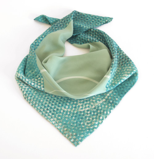 Green dot square scarf
